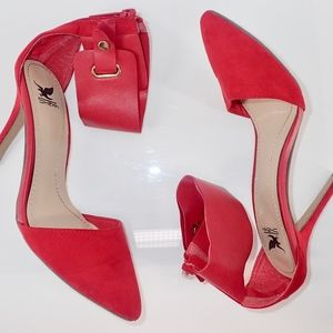"Shiekh Stilettos Size 7.5 Red 4"" Heels Sling Back"